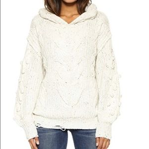 Wildfox Pattie Oversized Cable Knit Hooded Sweater